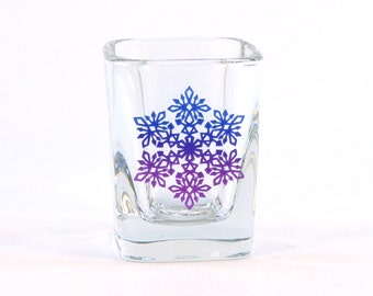 Snowflake Mandala - Prism Shot Glass - Snowflake Design 3 - Etched and Painted Glassware - Custom Made to Order