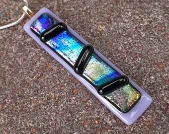 Lavender dichroic long  pendant, glass necklace, elegant dichroic pendant