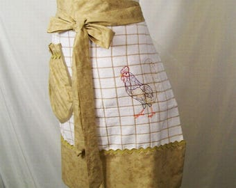 Women's Tan Stripe Towel Apron with Embroidery, Half Apron, Kitchen Apron, Gift for Mom, Made in the USA, #201