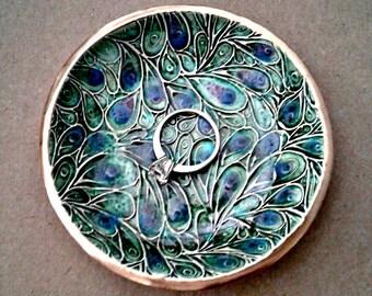 Ceramic Ring Bowl jewelry dish Ring dish Peacock Green Gold edged