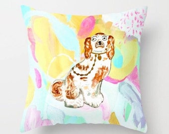 BETTY ON ABSTRACT- Left Facing Pillow 4 sizes -  (indoor and outdoor fabrics)