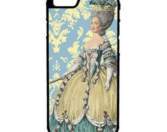 Marie Antoinette Blue Damask Phone Case for  iPhone 4 4s 5 5s 5c SE 6 6s 7  6 6s 7 Plus Galaxy s4 s5 s6 s7 Edge