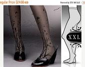 WinterSALE/// plus size XXL fabulous Forest Symphony tattoo stockings / full length / pantyhose / nylons GREY