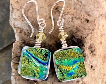 Dichroic Glass Earrings Gorgeous Green Blue Gold Ripple Wire Wrapped with Sterling Silver Hooks