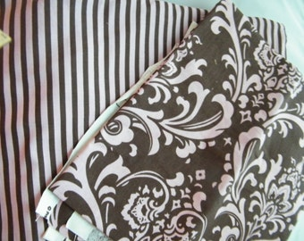 Pink and chocolate brown decorator weight, Premier Prints Pattern Traditions, large screen print, girl, feminine
