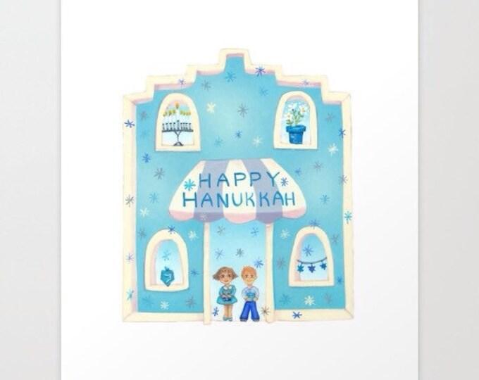 """HAPPY HANUKKAH Custom Framed PRINT 8""""x 8"""""""