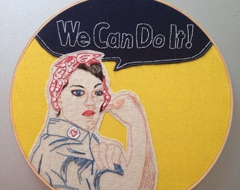 """Youre awesome SALE we can do it  - hand drawn and embroidered """"rosie the riveter"""" wall hanging"""