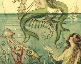Vintage Mermaids Cross Stitch Pattern PDF