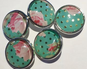 Floral Gold & Green Dot Snap Charm
