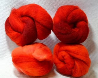 NEW Hand Dyed Gradient Fiber Set - American Targhee Combed Top in Tomato Semi Solid 2 ounces - Play With Your Fiber!