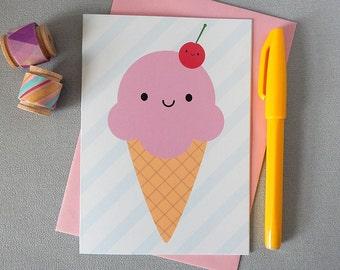Kawaii Ice Cream Card - Summer Holiday Greetings