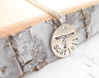 Gymnastics Necklace Personalized Gymnast Pendant with Name Sterling Silver Gift for Girl or Gym Mom