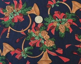 CHRISTMAS Fabric ~ Pine Cones Holiday Horns Evergreen Boughs & Red Bows