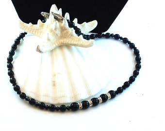 Black Bead With 4 Rhinestone Ring Necklace, 16 Inch Jet Black Bead Necklace, Choker Necklace, Gift For Her