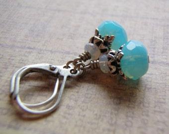Powder Blue Earrings Antique Silver Lever Back Ear Wire 9 x 6 mm Glass Dangle