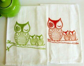 OwlsTea Towel Set/2- Orange & Green -Cotton Flour Sack-Dish Towels-Teachers Gift- Hostess Gift