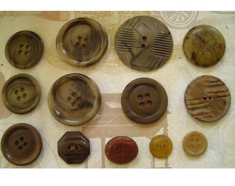 Collection of Unusual Vintage Brown and Butterscotch Tone Buttons