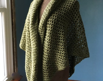 Crochet Shawl Green Wool Shawl Oversized Warm Shawl Crochet Wrap