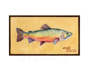fine art giclee, fishing, Arctic Char, gifts, decor, men, Father's Day, dad, fish