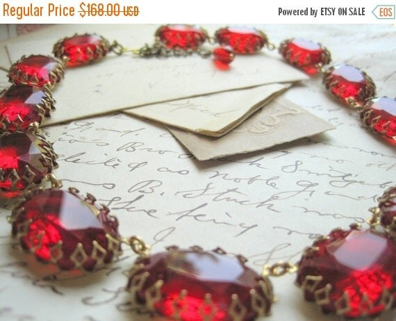 SALE Ruby red statement Necklace, chunky statement Necklace, Necklace, vintage french ruby red statement collet necklace.
