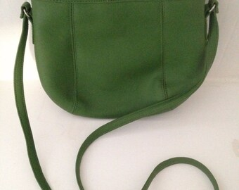 Vintage 80s Purse Jackson Green Faux Leather PVC Shoulder Boho Bag Medium Modern
