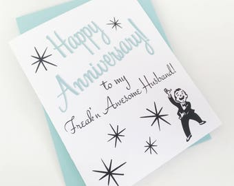 Freakn Awesome Anniversary Card.  One Year Anniversary Card. Anniversary Card for Husband. 1st Anniv. Awesome Husband. Anniversary Gift.