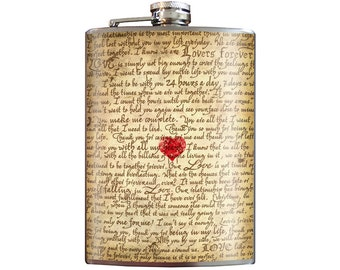 Love Letter - Romantic Anniversary and Valentine's Day - 8oz Stainless Steel Flask - comes in a GIFT BOX -  by Trixie & Milo