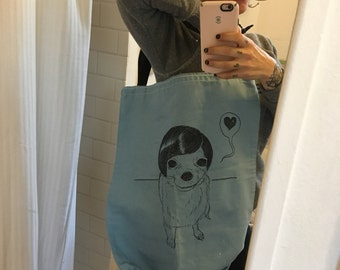 Hand-drawn, one of a kind,  chihuahua tote!!!