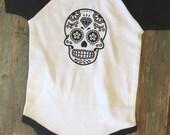 Sugar Skull Raglan T-Shirt Onesie Baby Romper Black And White
