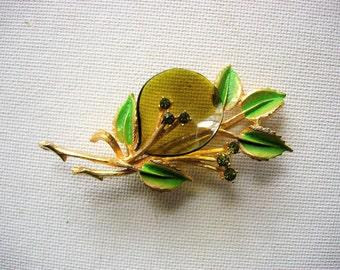 Pretty Vintage Enameled Rhinestone Brooch Pin