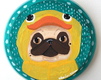 Pug Art Gift, Pug Painting, Gifts For Dog Lovers, Funny Animal Art, Pug Life, Pug Love, Quirky Home Decor, Dog Decor, Original Dog Artwork