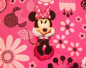 Minnie Allover - Cotton Fabric - 7 inch fabric remnant strip with bonus  - Pink Minnie Mouse Disney