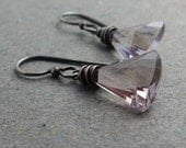 Ametrine Earrings Geometric Jewelry Oxidized Sterling Silver Earrings Wire Wrapped Earrings Triangle Earrings Gift for Girlfriend