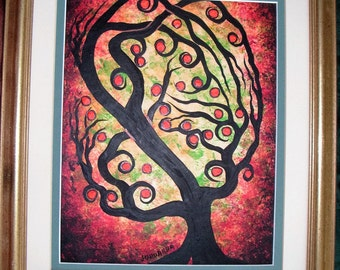 Original Acrylic painting, Abstract red apple tree by treeartist on ETSY, Jordanka Yaretz