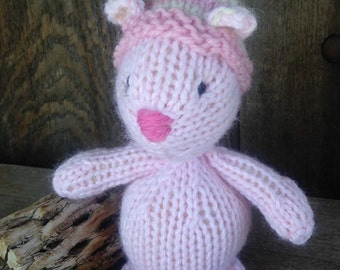 Valentine Mouse Toy Eco Kids Toy Pink  Stuffed Animal hand knit Plush Natural