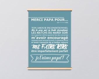 """Affiche - """"Fête des pères"""" - cadeau papa - je t'aime papa"""