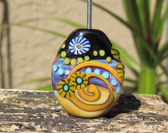 Cosmic Swirl- lampwork focal bead- SRA- Lisa New