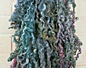 Border Leicester Wool Curls - Hand Dyed Fleece - Green, Blue Gray, Pink - Sage Brush