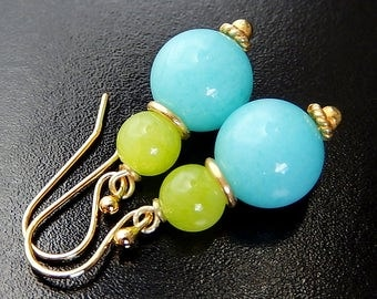 Lime, Blue Jade Earrings, Neon Green Sky Blue Neon Dangle Earrings, Gold Vermeil, Colorful Jewelry
