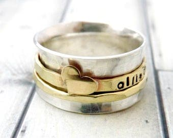 spinner ring- spin ring- personalized spinner ring-fidget ring- personalized rings-sterling silver spinner ring