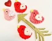 Cotton Valentine Crochet Tiny Birds, Love Birds, Crochet  Appliqués, Scrapbook, Barrettes, Jewelry, art projects