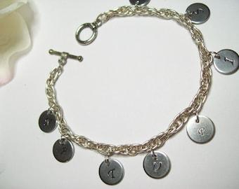 NATURIST charm bracelet, Silver Naturist Stamped Charm Bracelet, Stamped Charm Chain Bracelet Naturist, Naturist Jewelry, Naturist Jewellery