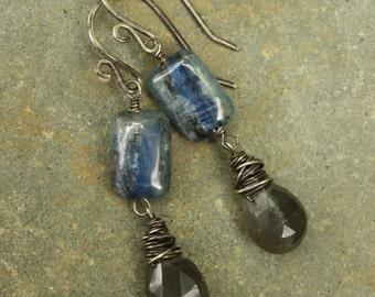 Kyanite Grey Moonstone Dangle Earrings, Gemstone Earrings, Sterling Silver Wire Wrapped Earrings, Oxidized Silver, Blue Gray Earrings, Stone