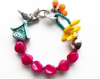 Wall Flower Beaded Bracelet