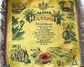 Vintage Souvenir Pillowcase Hawaii Sweetheart Poem