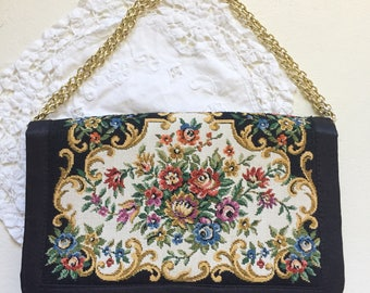 Vintage Walborg Floral Tapestry Black Tapestry Petit Point Handbag Purse Clutch
