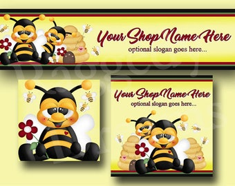 Premade Etsy Cover Photo  - Large Etsy Banner - Etsy Shop Banner - Shop Icon - Shop Profile - Cute Honey Bees - _ Bumble Bees - Bee Hive