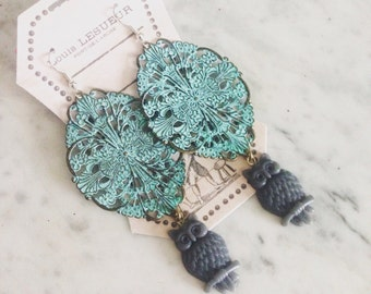 Owls and filigree patina earrings