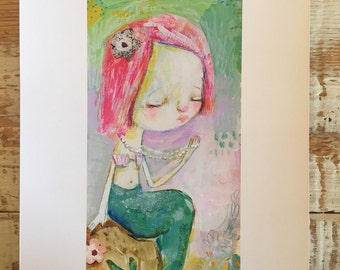 Pearl mermaid - mixed media art print by Mindy Lacefield