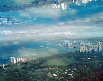 city in the sky: surreal photography. clouds photography. waikiki honolulu skyline photo. hawaii oahu landscape art. multiple exposure photo